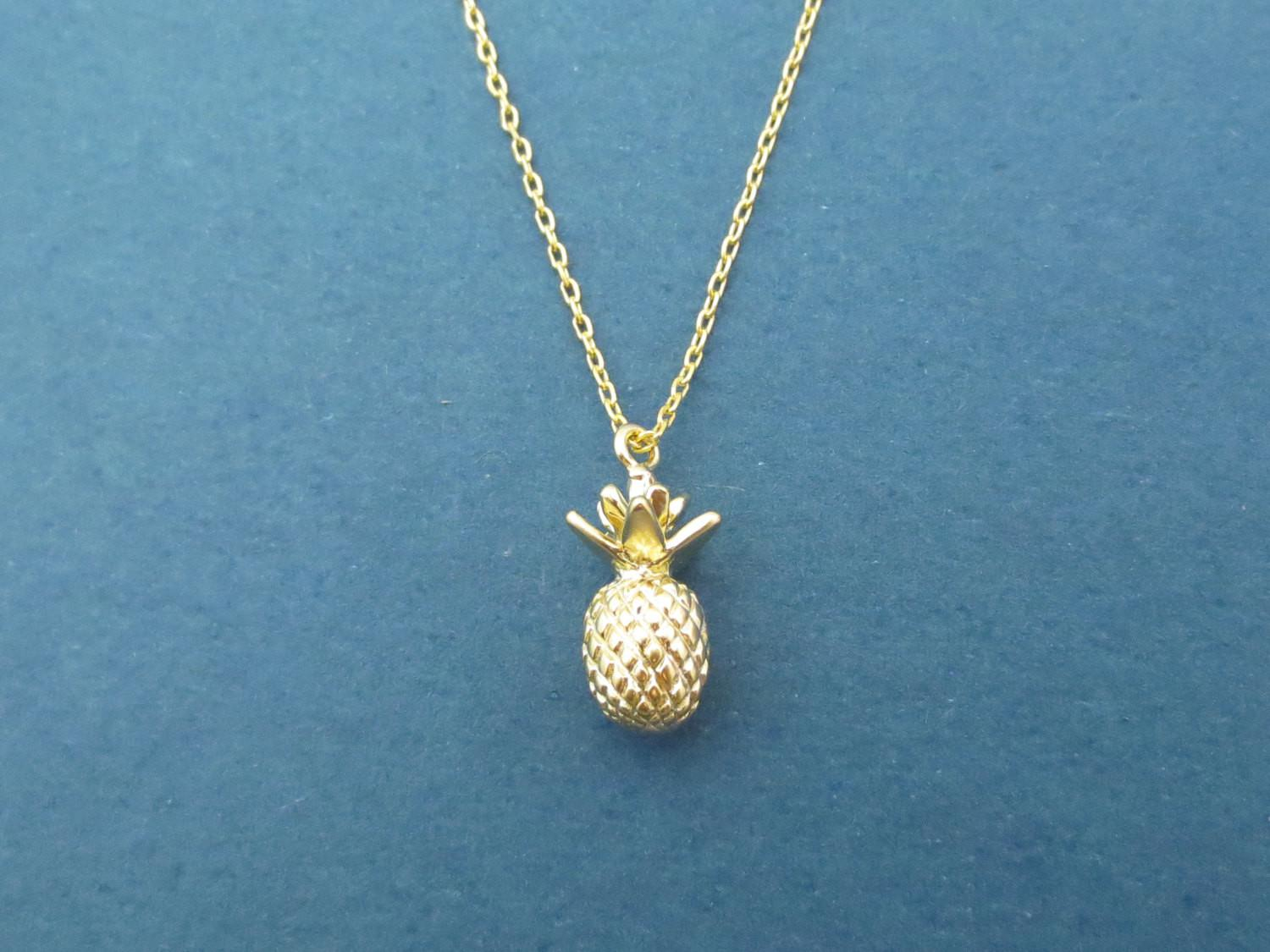 Pineapple Gold Necklace Modern Minimal Fruit