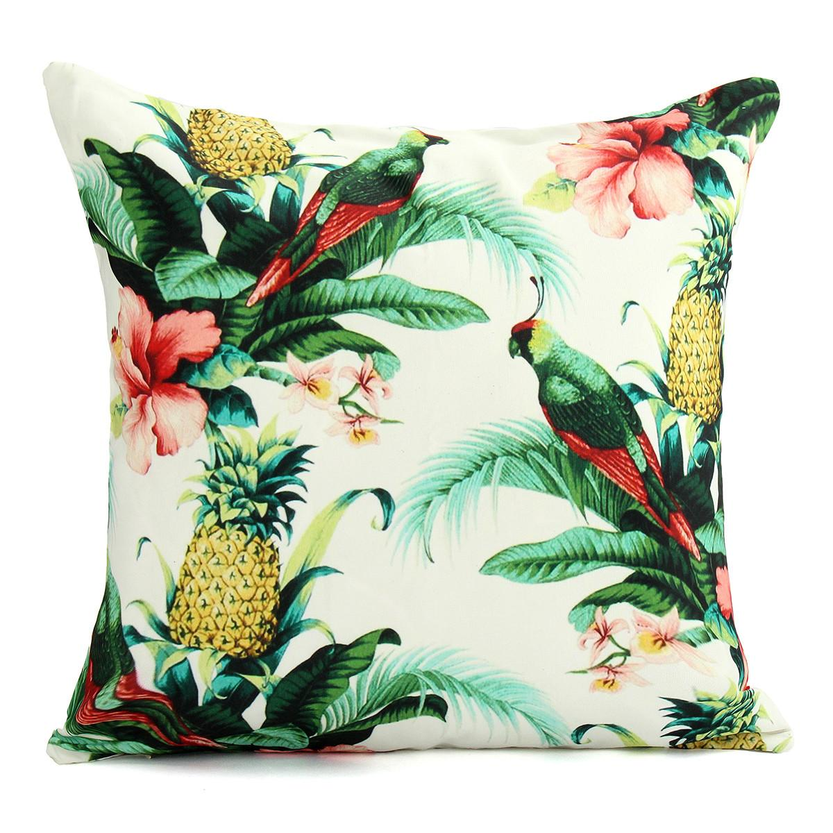 Pineapple Parrot Canvas Chair Cushion Cover
