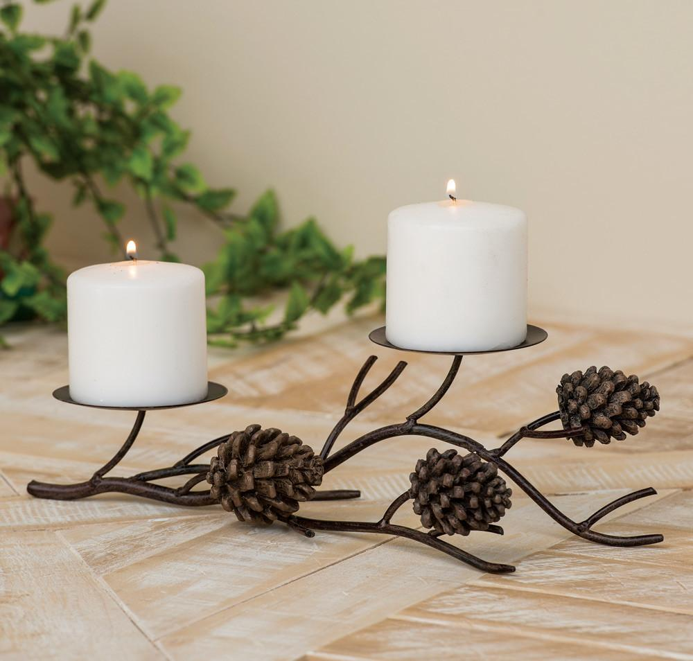 Pinecone Branch Candle Holder