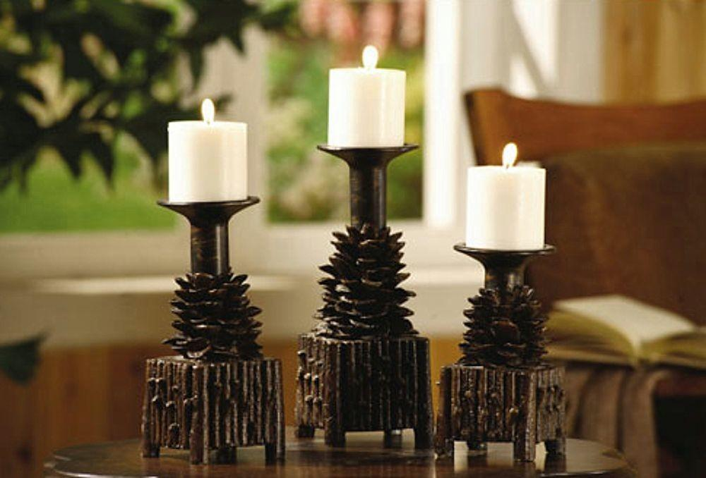 Pinecone Candle Holders Rustic Cabin Lodge Decor Pine Cone