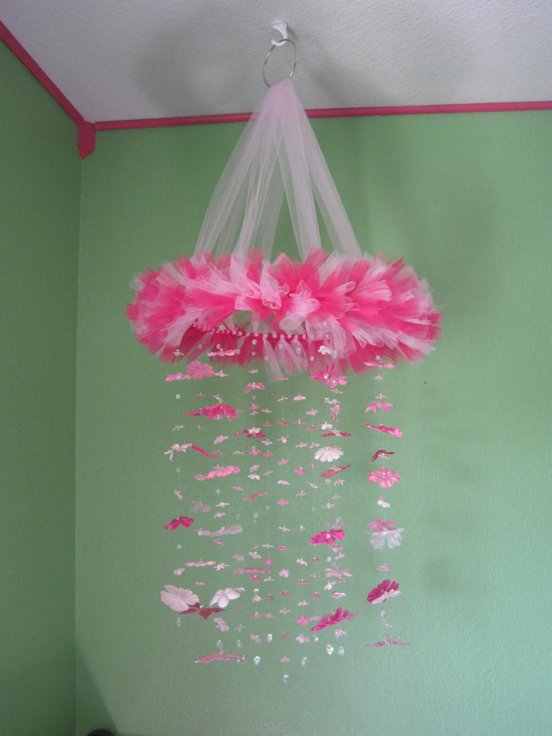 Pink Baby Crib Mobile Silk Flowers Bairboutique