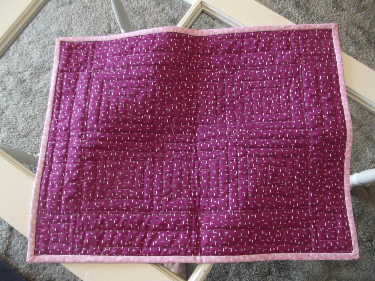 Pink Blue Quilted Tablerunner Country Rustic Handmade Home