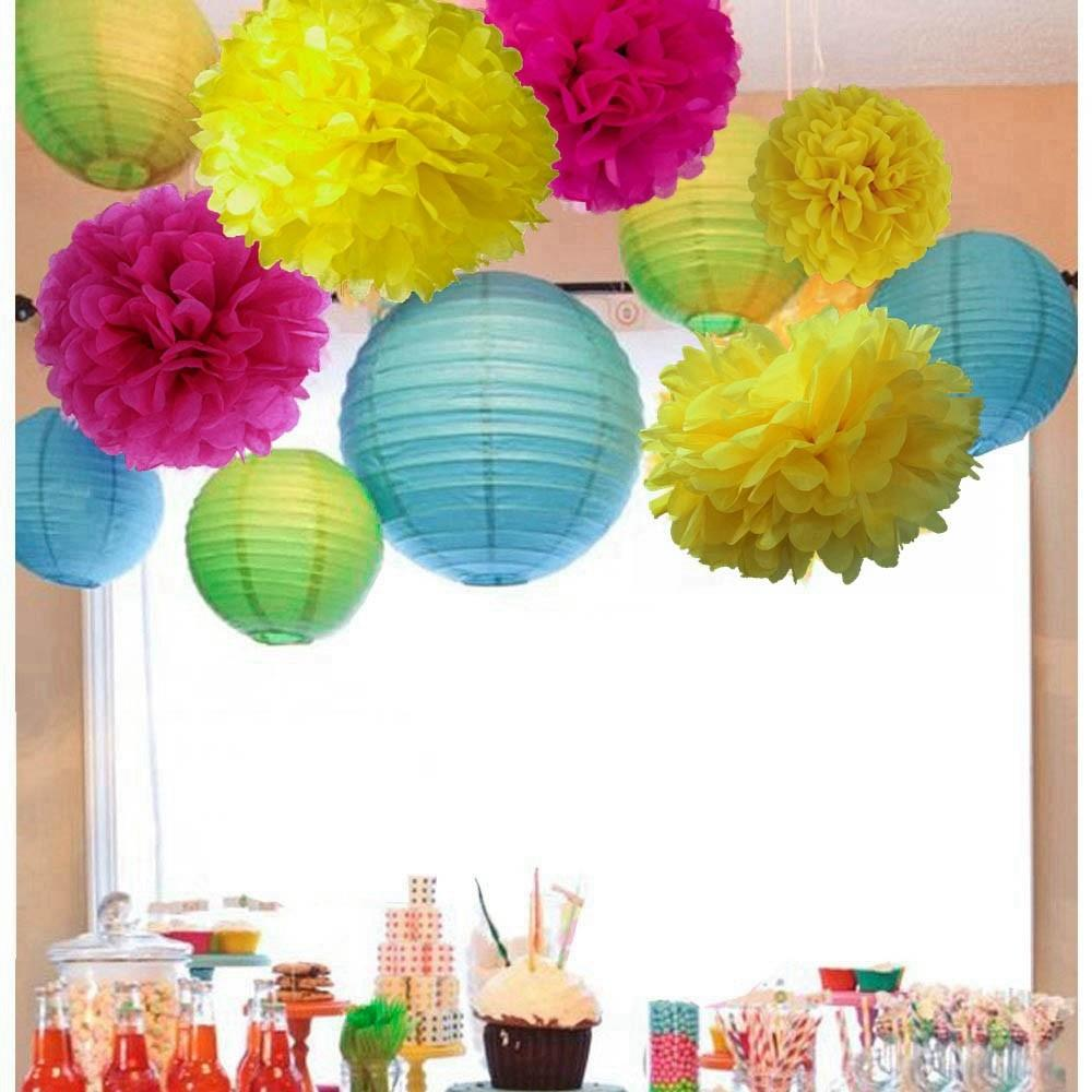Pink Blue Yellow Party Decoration Set Paper Crafts