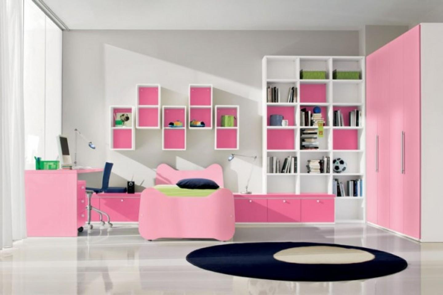 Pink Bookcase Wallabove Headboard White Chest