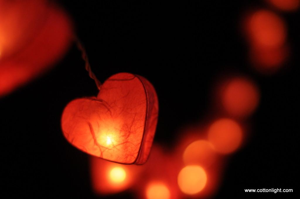 Pink Color Love Heart Mulberry Paper Handmade String Light