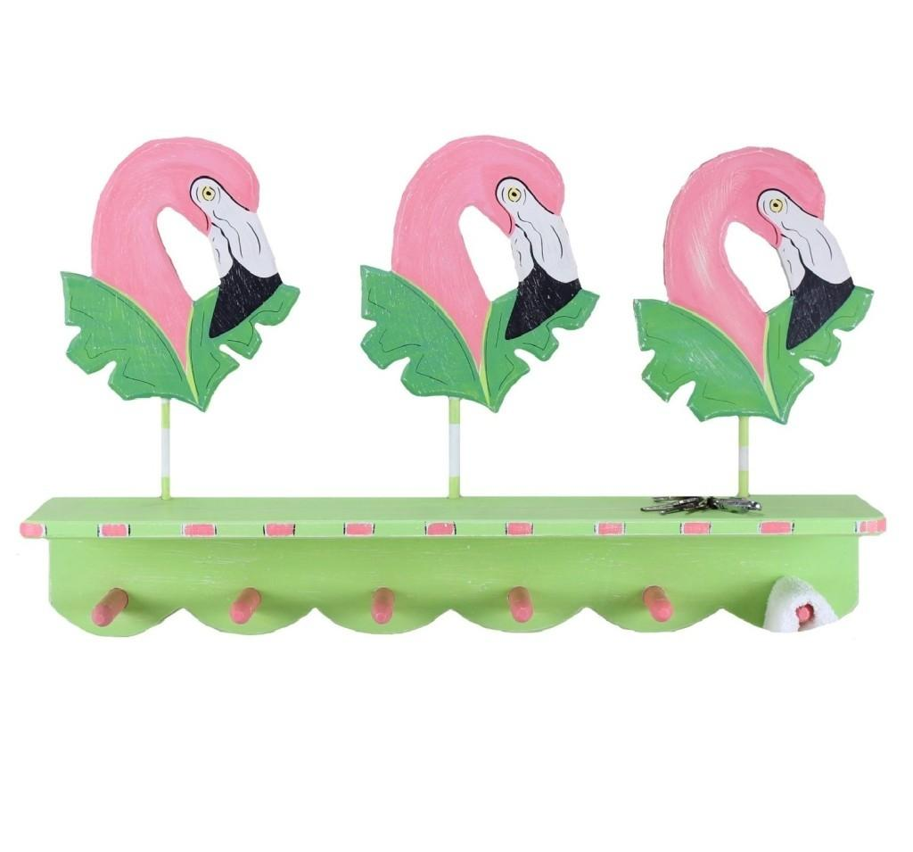 Pink Flamingo Wall Hooks Tropical Decor Whyrll