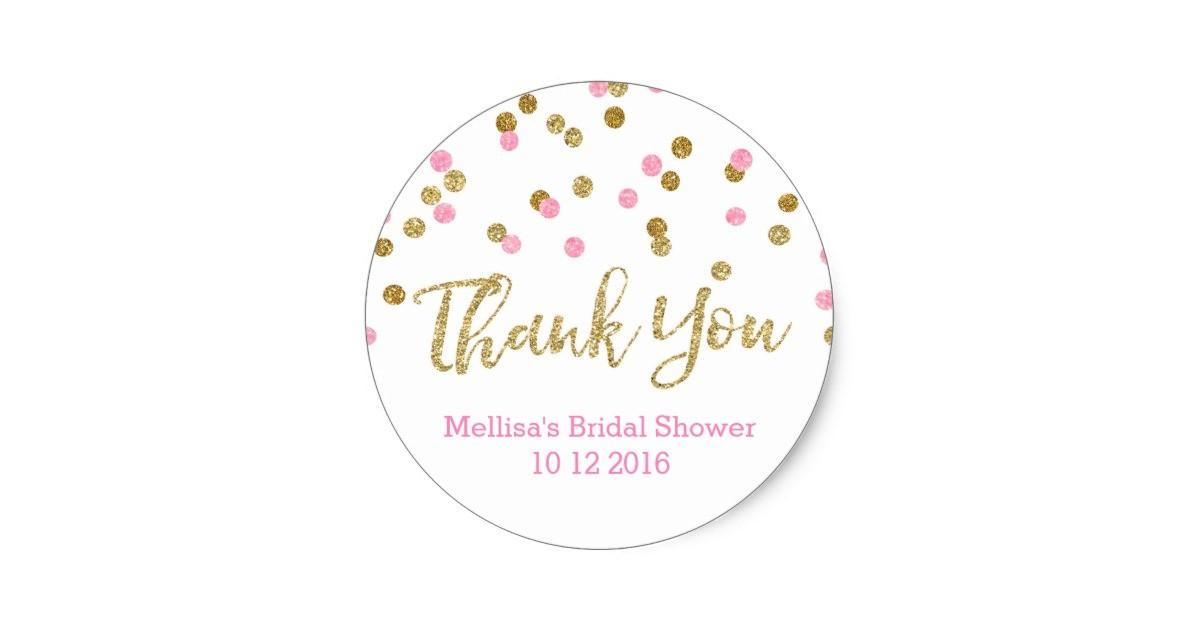 Pink Gold Confetti Bridal Shower Favor Classic Round