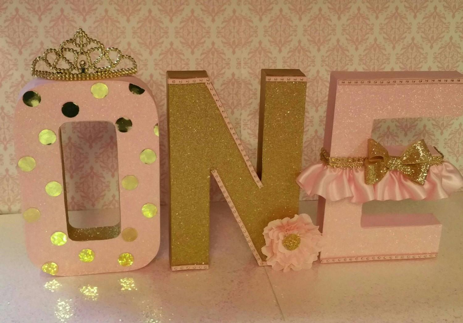 Pink Gold Letters Birthday First