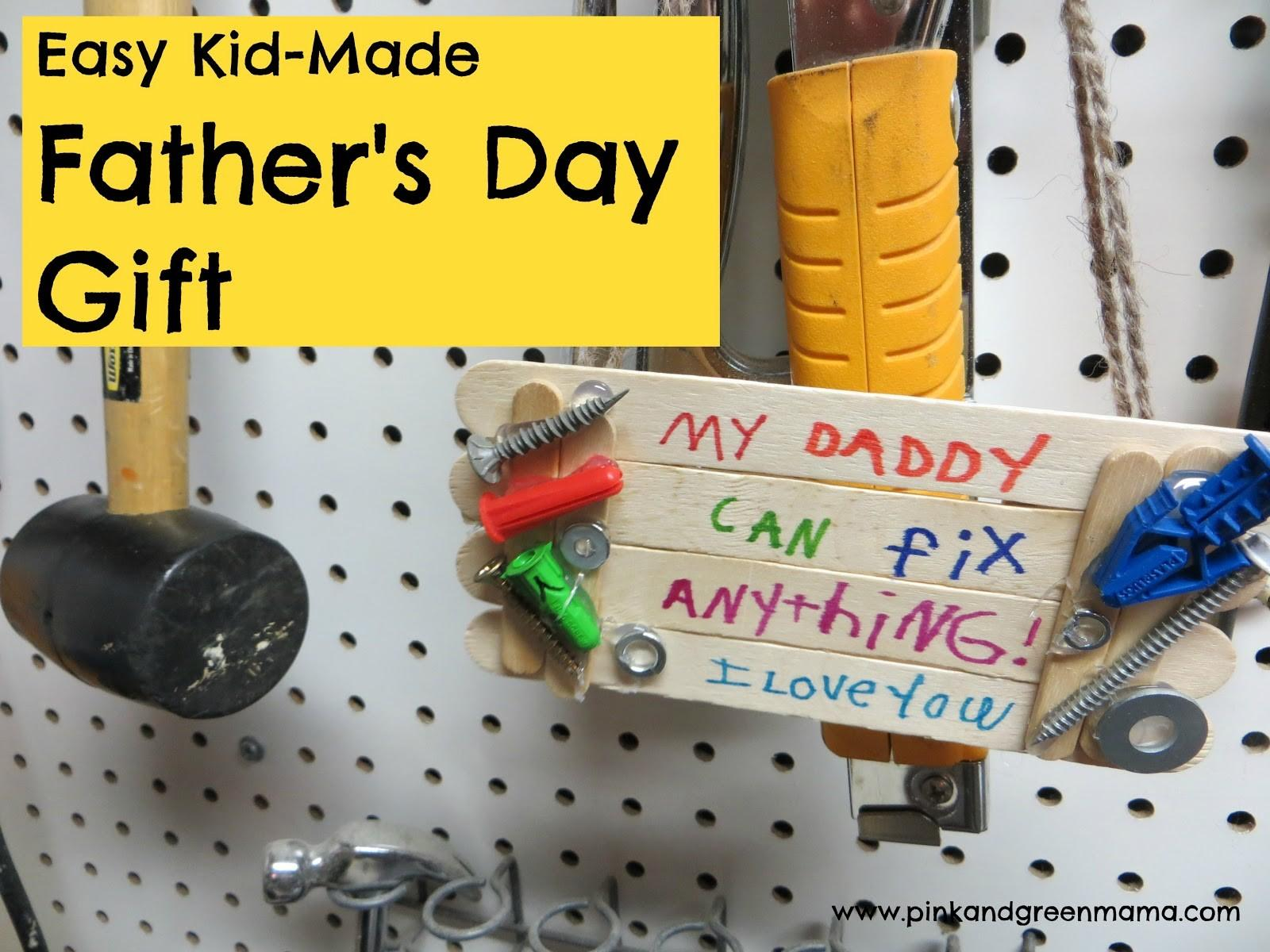 Pink Green Mama Easy Kid Made Father Day Gift