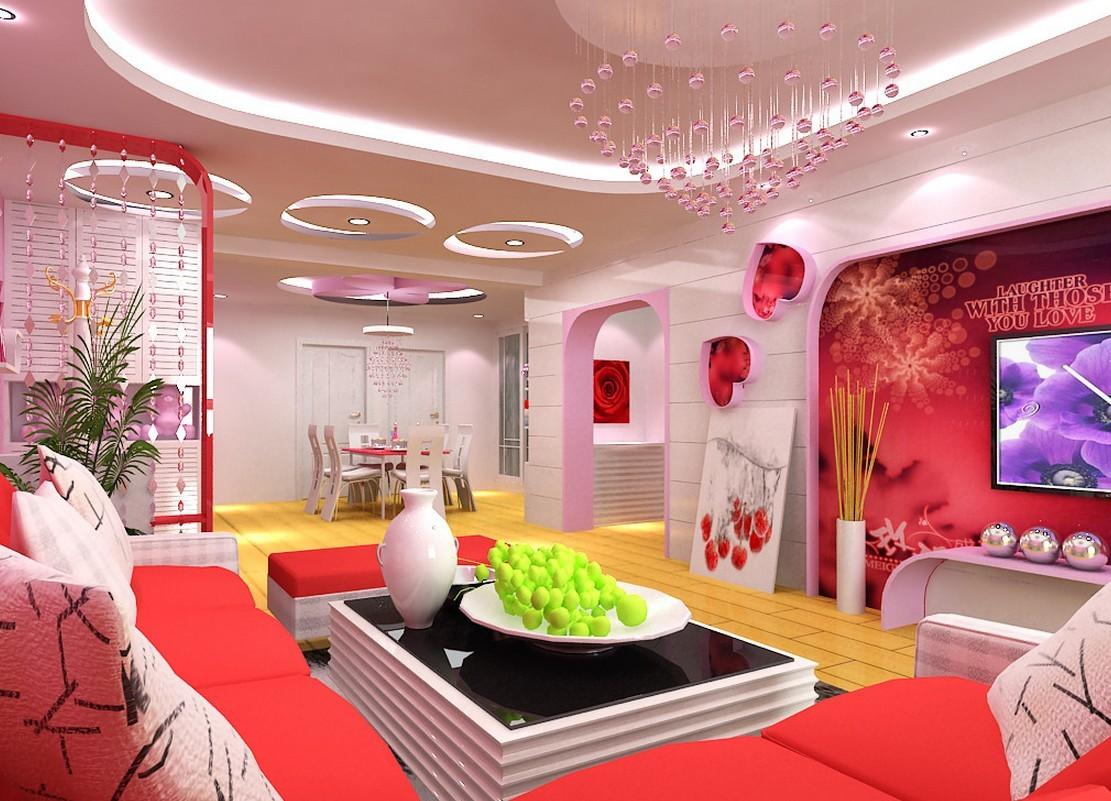 Pink Interior Design Living Dining Room