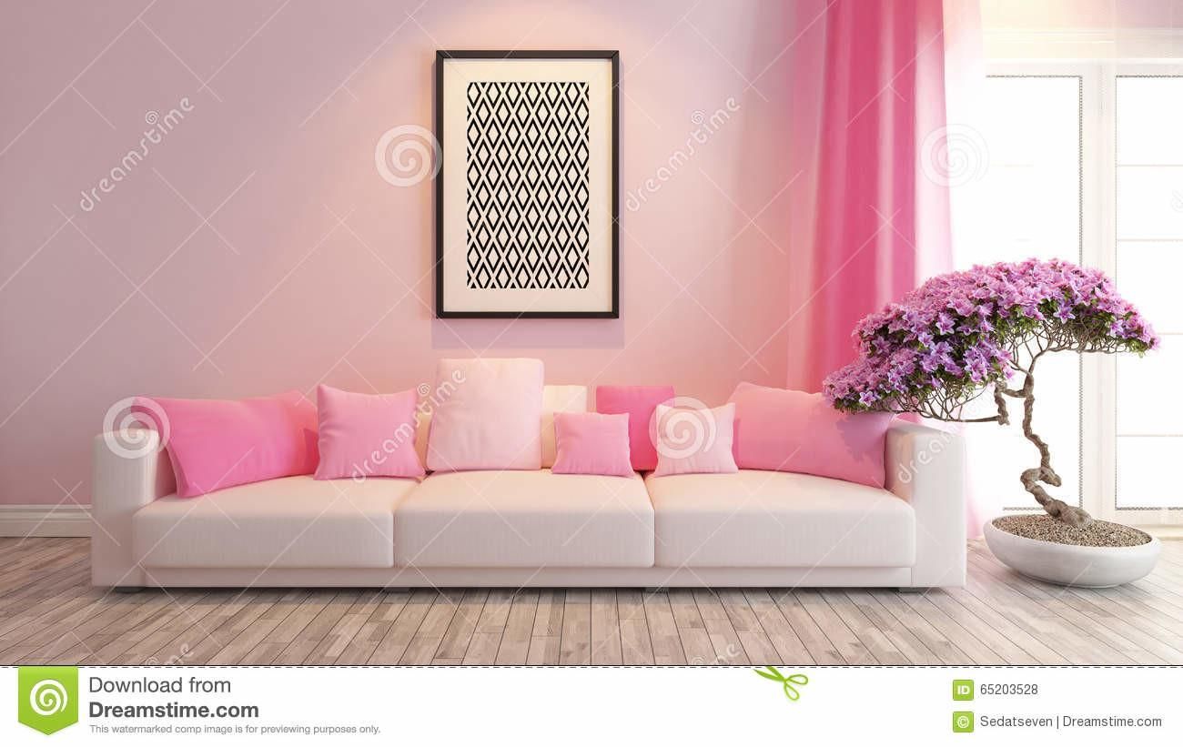 Pink Living Room Saloon Interior Design Rendering Stock