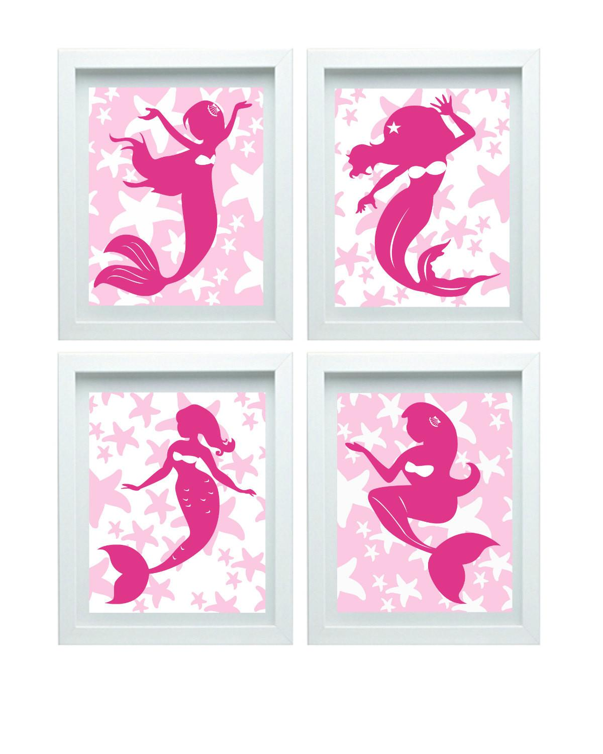 Pink Mermaid Decor Girl Bathroom Art Little Print