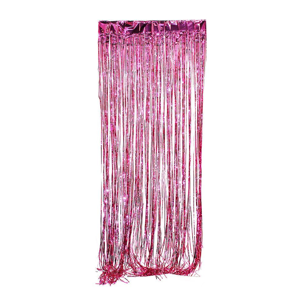 Pink Metallic Fringe Curtain Party Foil Tinsel Room Decor