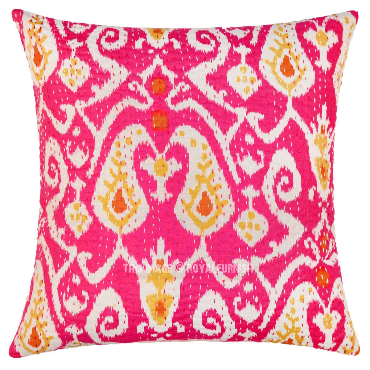 Pink Multicolor Paisley Accent Ikat Kantha Stitched