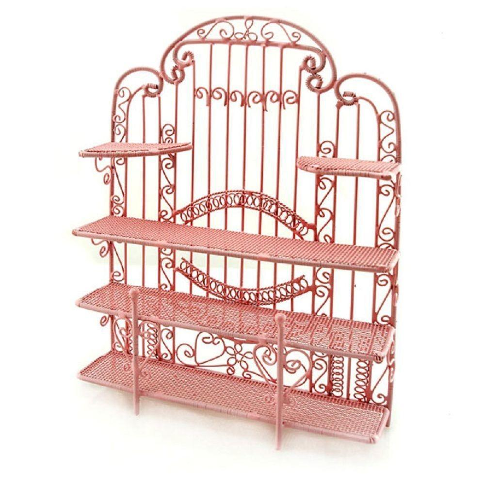 Pink New Wire Jewelry Earring Display Holder Doll House