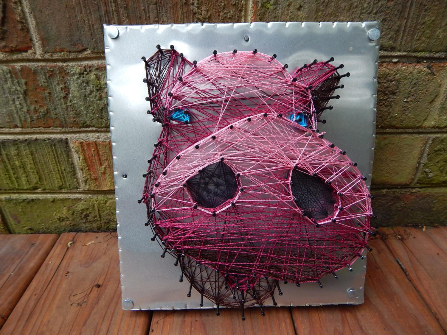 Pink Pig Nose String Art Upcycled Wood Aluminum Base Vegan