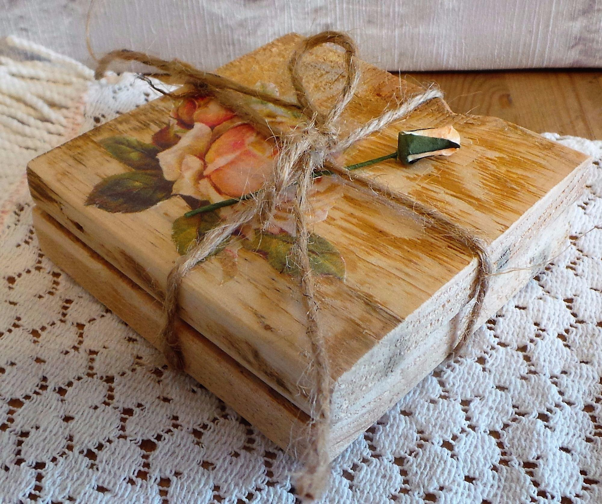 Pink Rose Reclaimed Wood Coasters Wooden Coaster Set