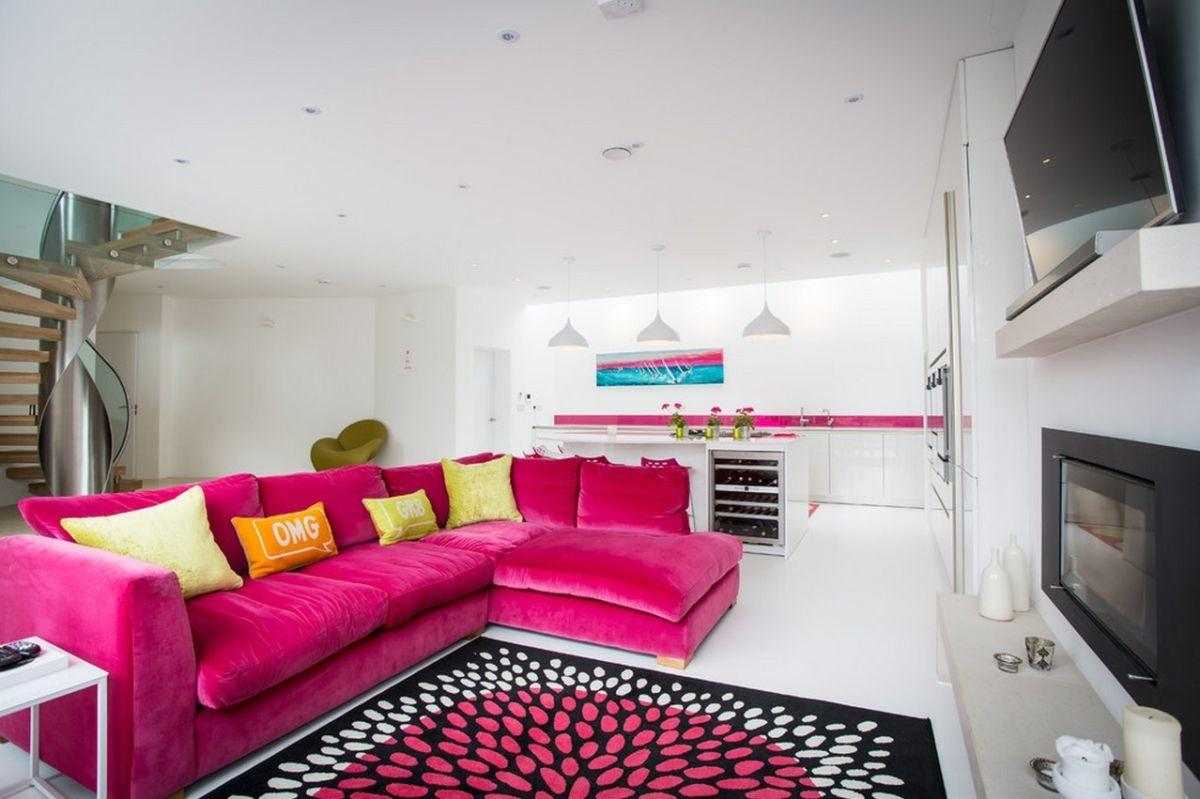 Pink Sofas Unexpected Touch Color Living Room