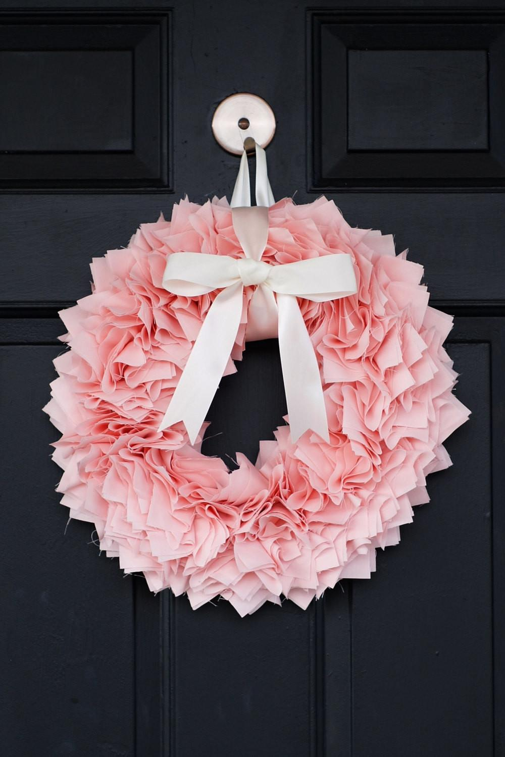 Pink Spring Wreath Luxurious Fabric Bow Easter