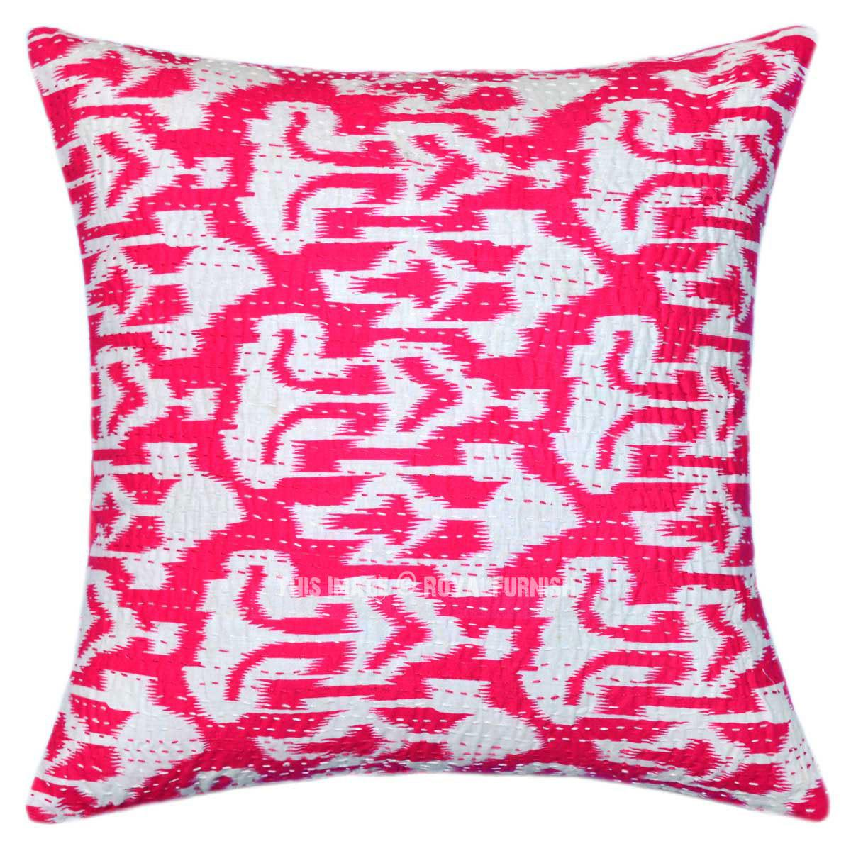 Pink Unique One Kind Handmade Zig Zag Ikat Pillow