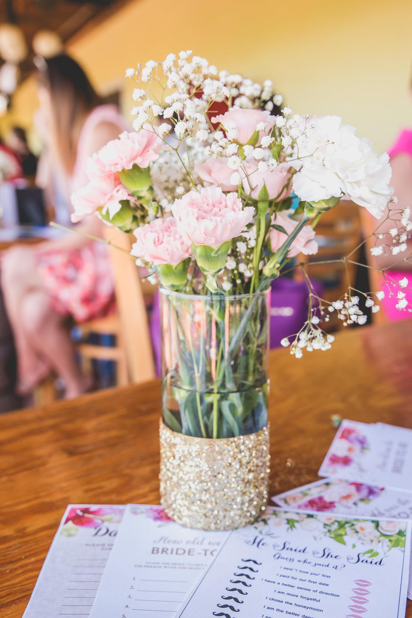 Pink White Carnations Baby Breath Clear