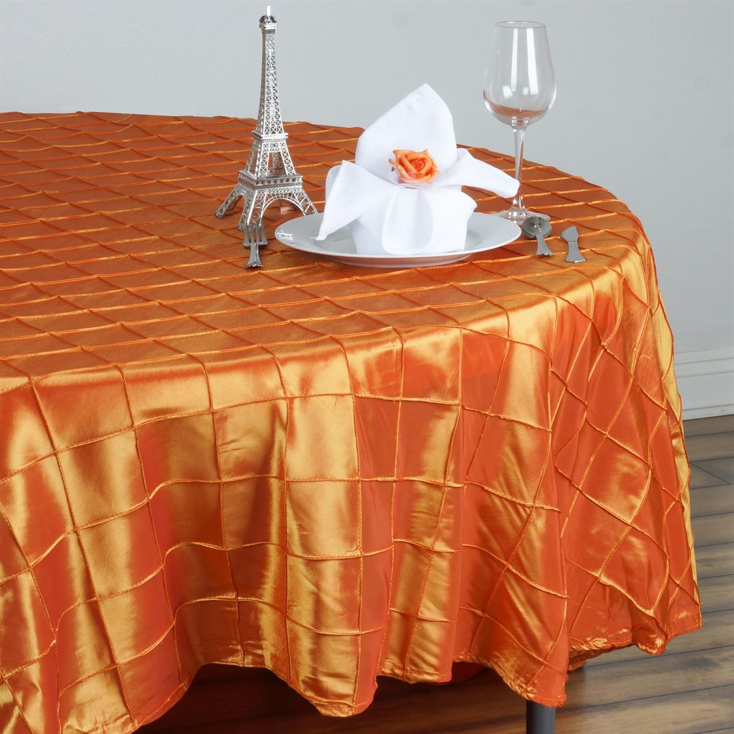 Pintuck Round Tablecloth Wedding Party Banquet