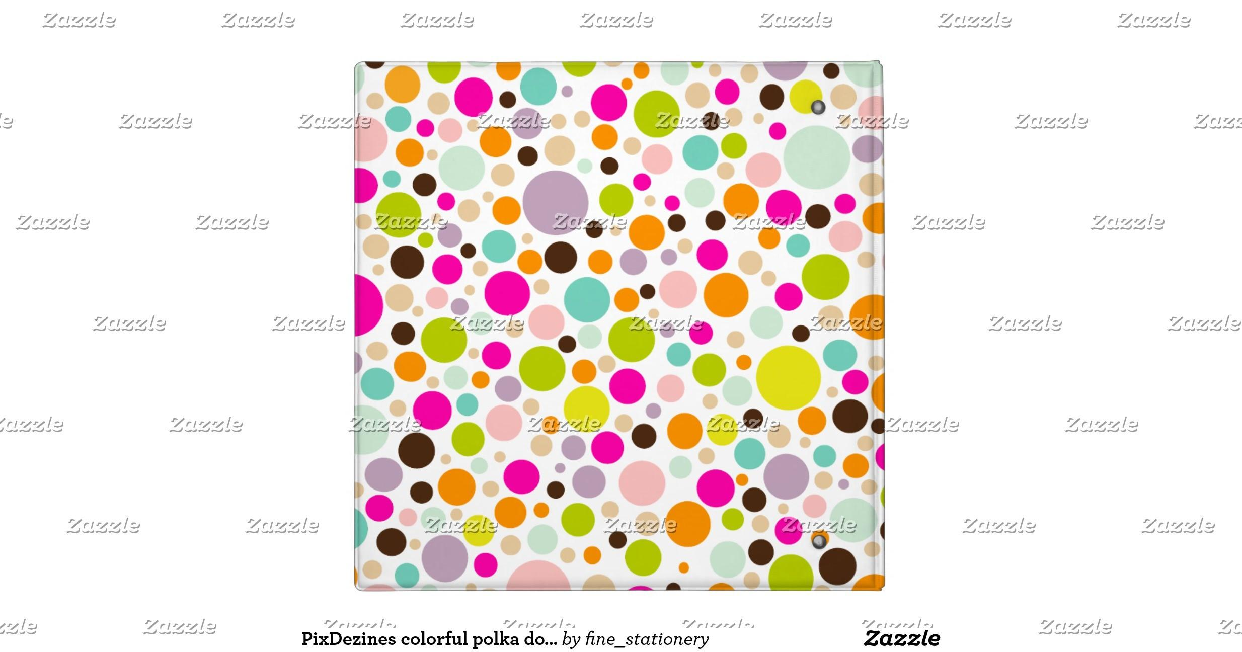Pixdezines Colorful Polka Dots Diy Binders