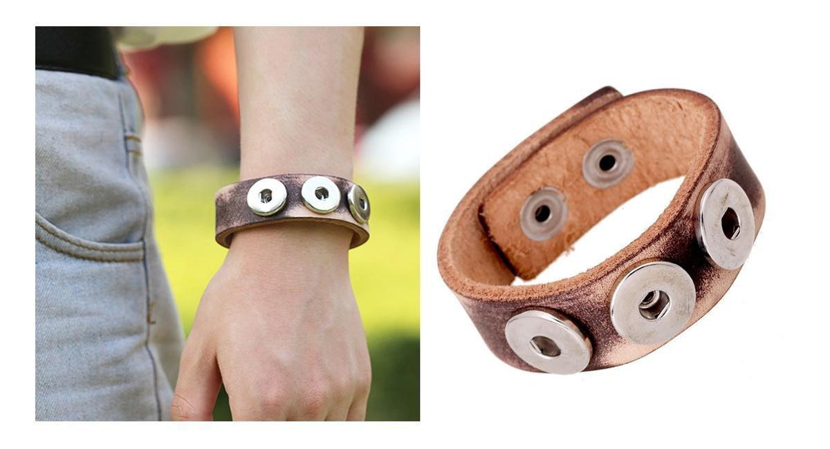 Pk0040 Snap Button Leather Bracelet Vintage