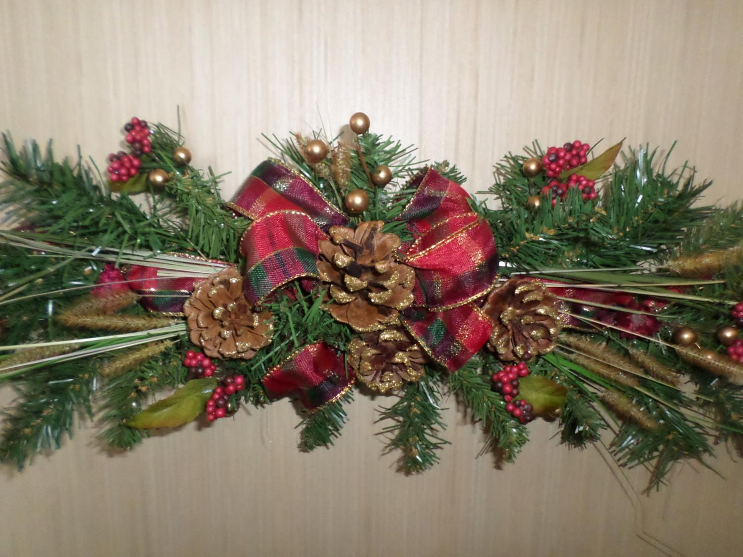 Plaid Ribbon Pinecone Swag Dried Floral Accents
