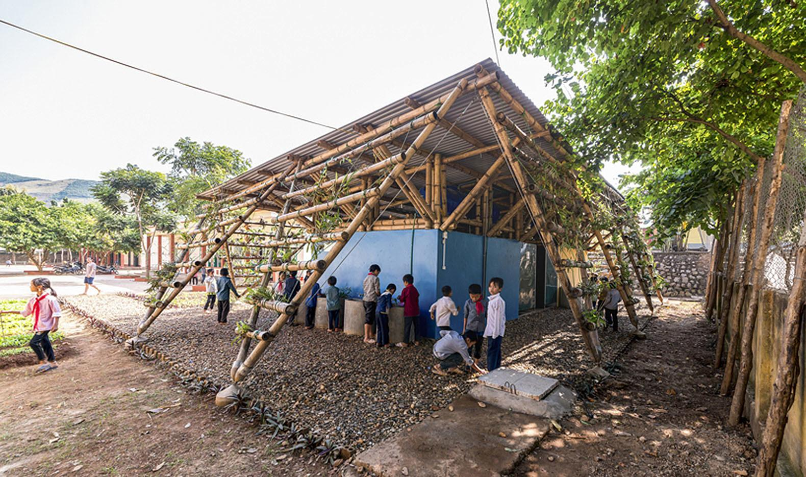 Plant Covered Bamboo Structure Vietnam Offers Low Cost