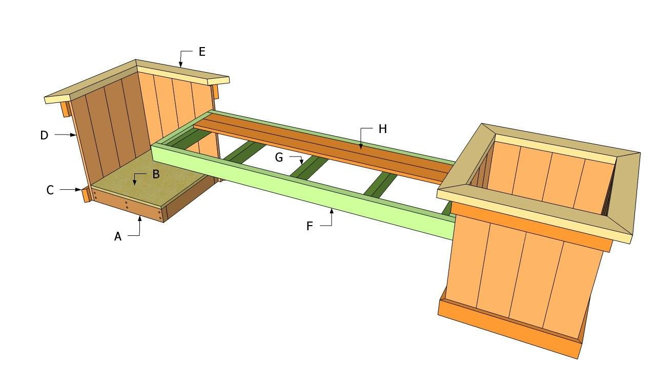 Planter Bench Plans Outdoor Diy Shed