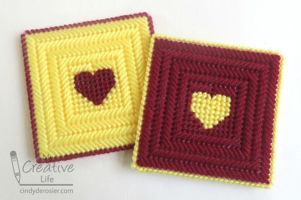 Plastic Canvas Heart Coasters Fun Family Crafts