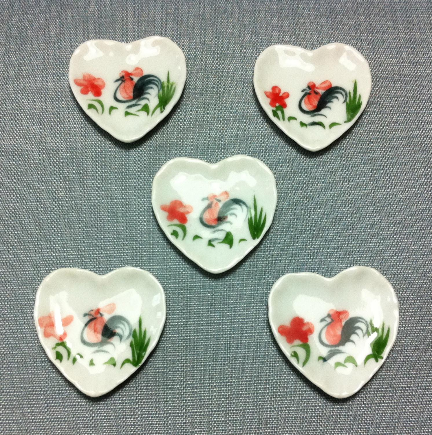 Plates Dishes Miniature Hand Painted Rooster Heart Ceramic