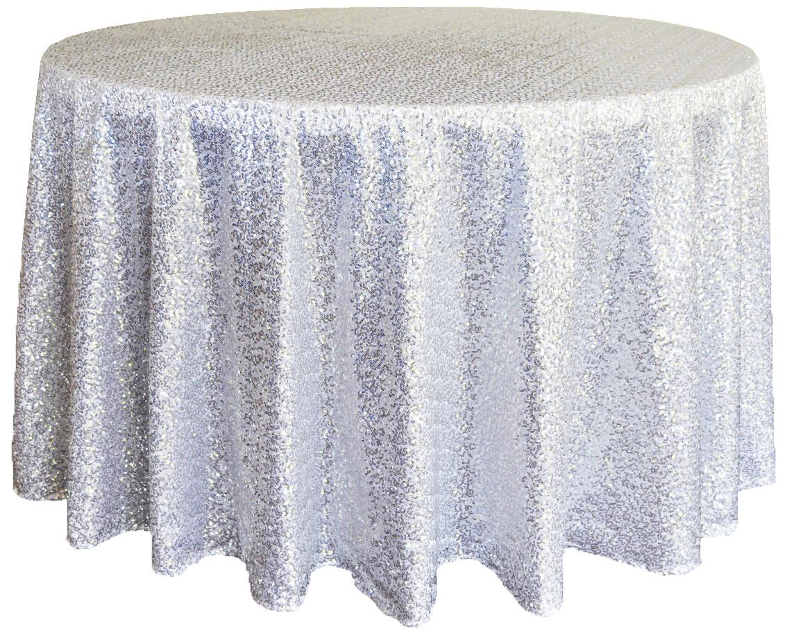 Platinum Sequin Table Cover Linens 132
