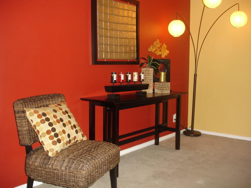 Pleasant Lounge Space Bold Orange Accents Wall Color