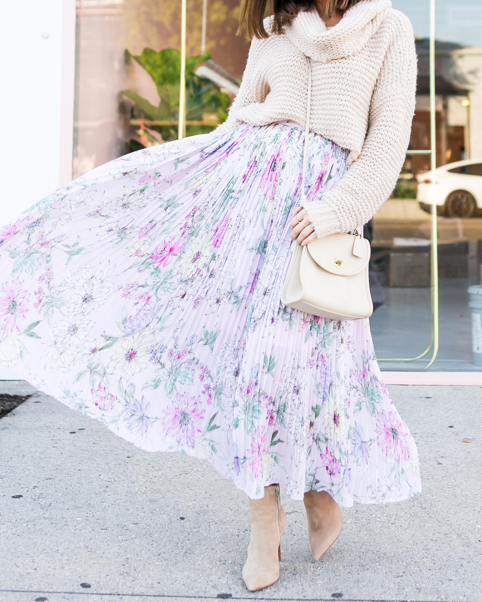 Pleated Floral Skirt 2018 Women Spring Fashion Trends