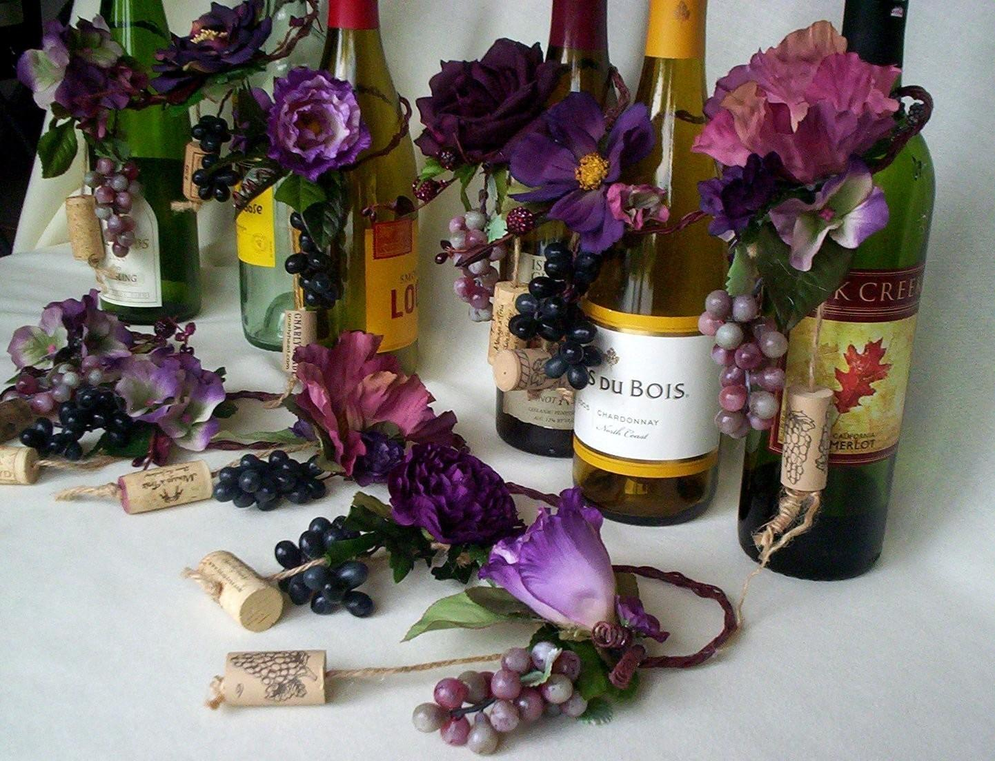 Plum Wedding Centerpiece Wine Bottle Toppers Grapes Custom