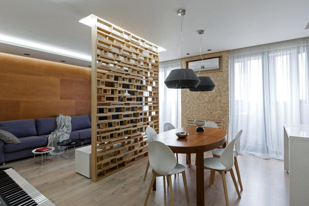 Plywood Accent Wall Opens Small Apartment Ukraine
