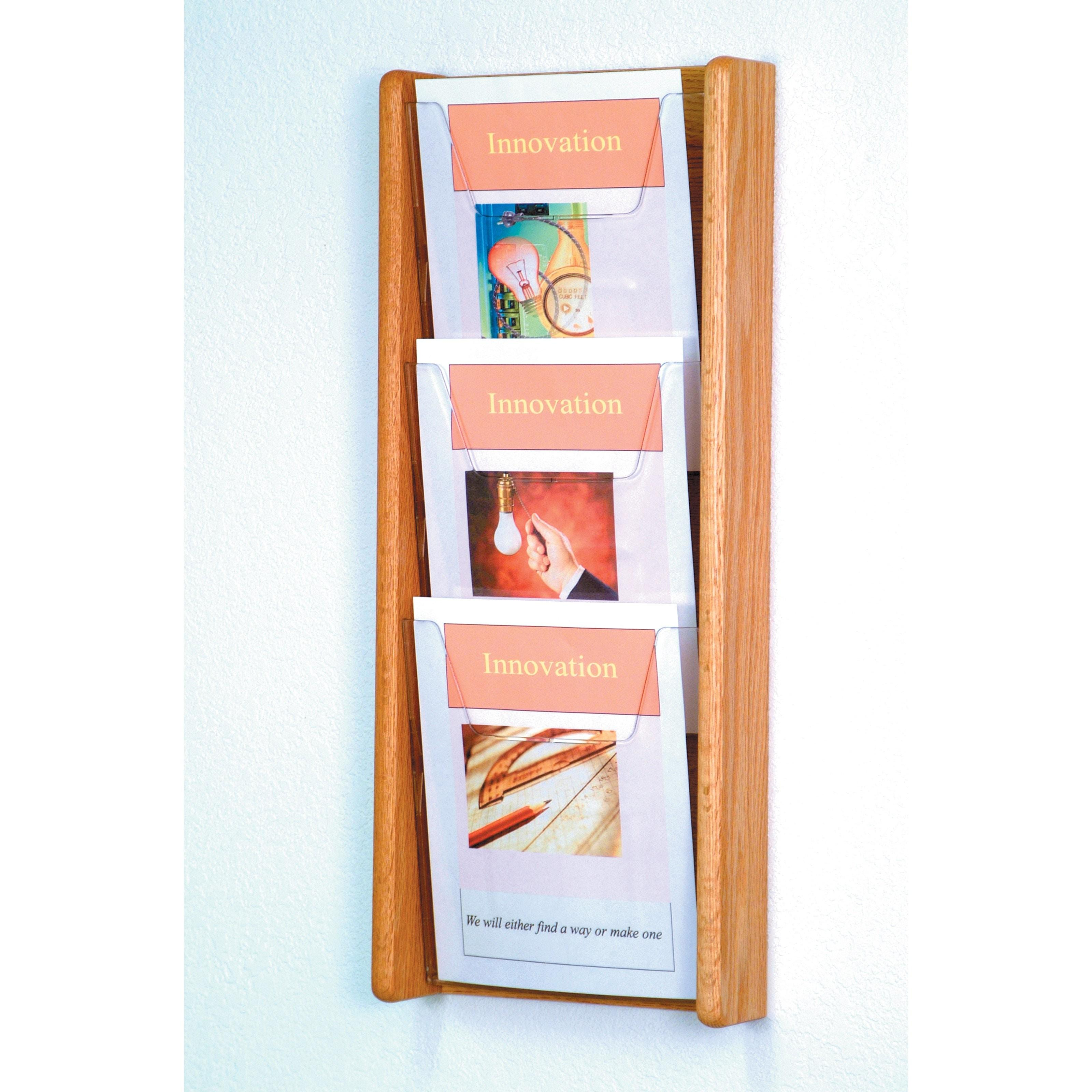 Pocket Solid Wood Wall Magazine Rack Commercial