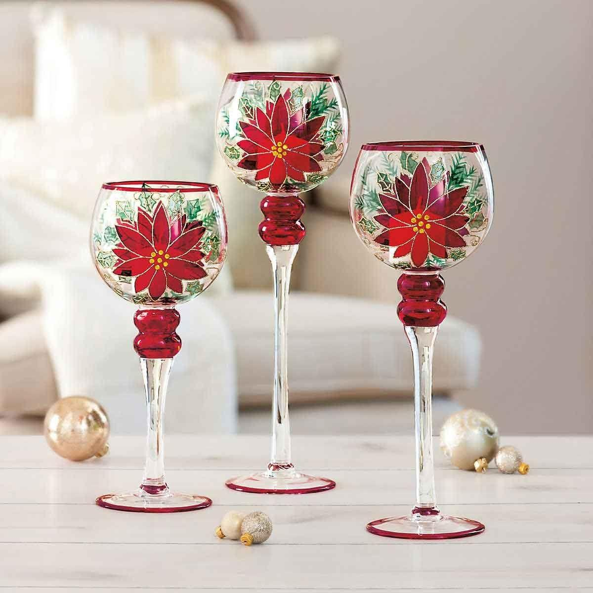 Poinsettia Glass Candle Holders Set Hand Painted