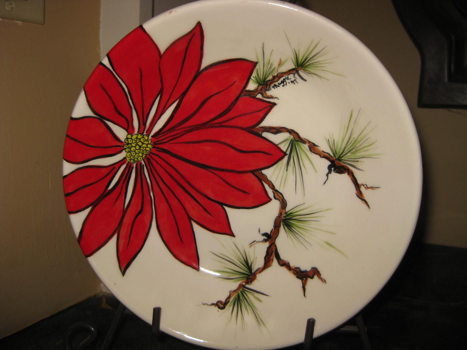 Poinsettia Serving Bowl Holiday Display Strokeofluckdesign