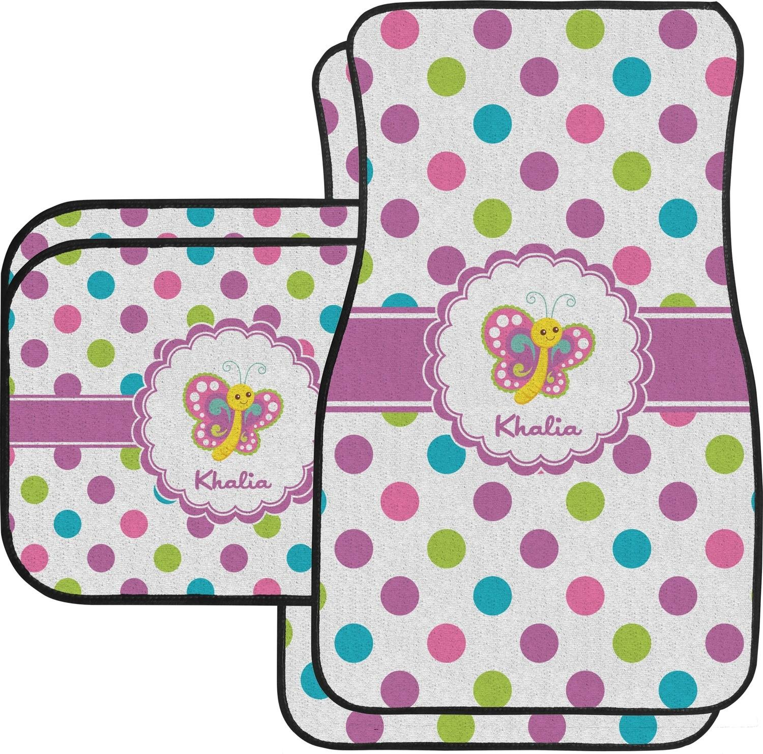 Polka Dot Butterfly Car Floor Mats Set Front Back
