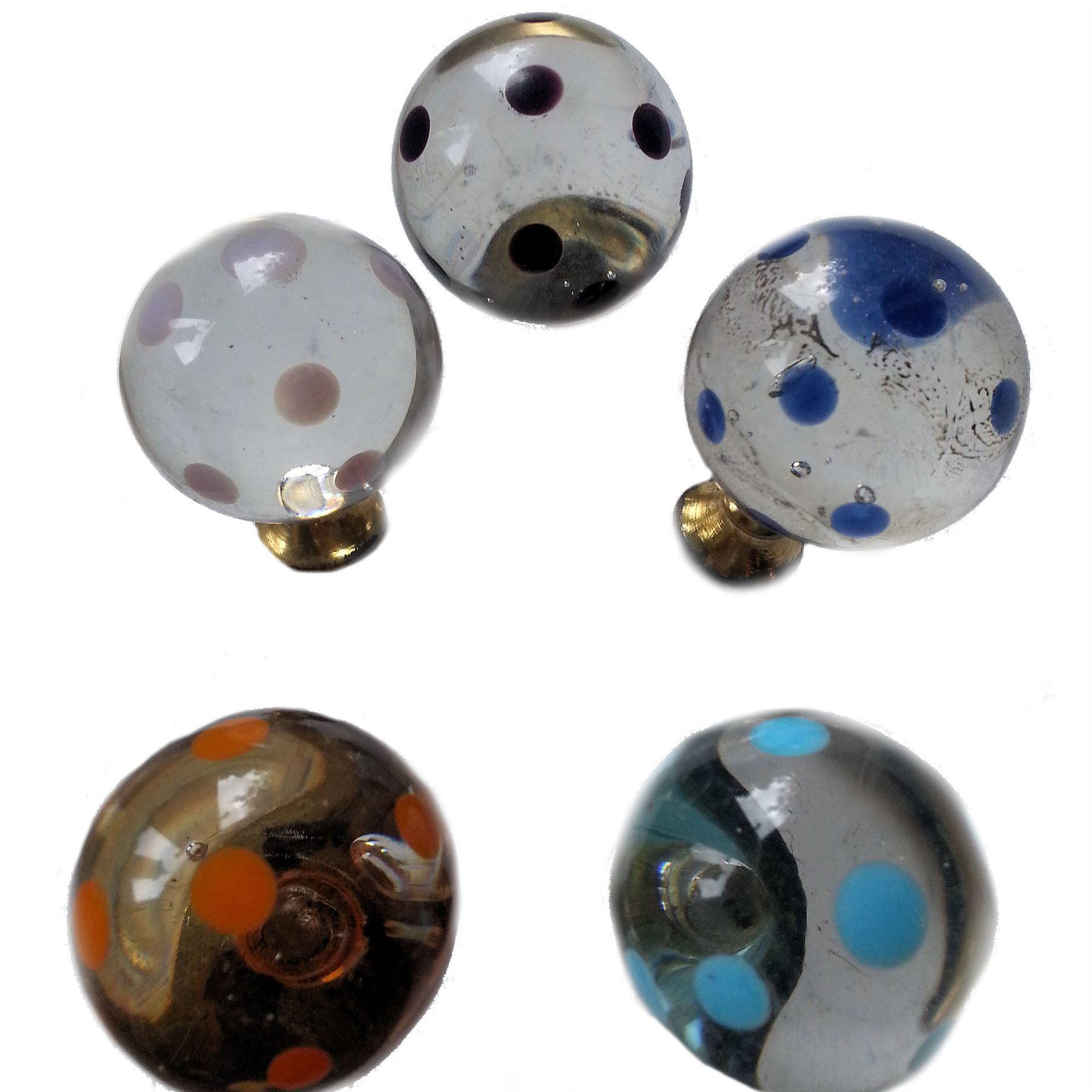 Polka Dot Glass Knobs Small Round Drawer Pulls Painted