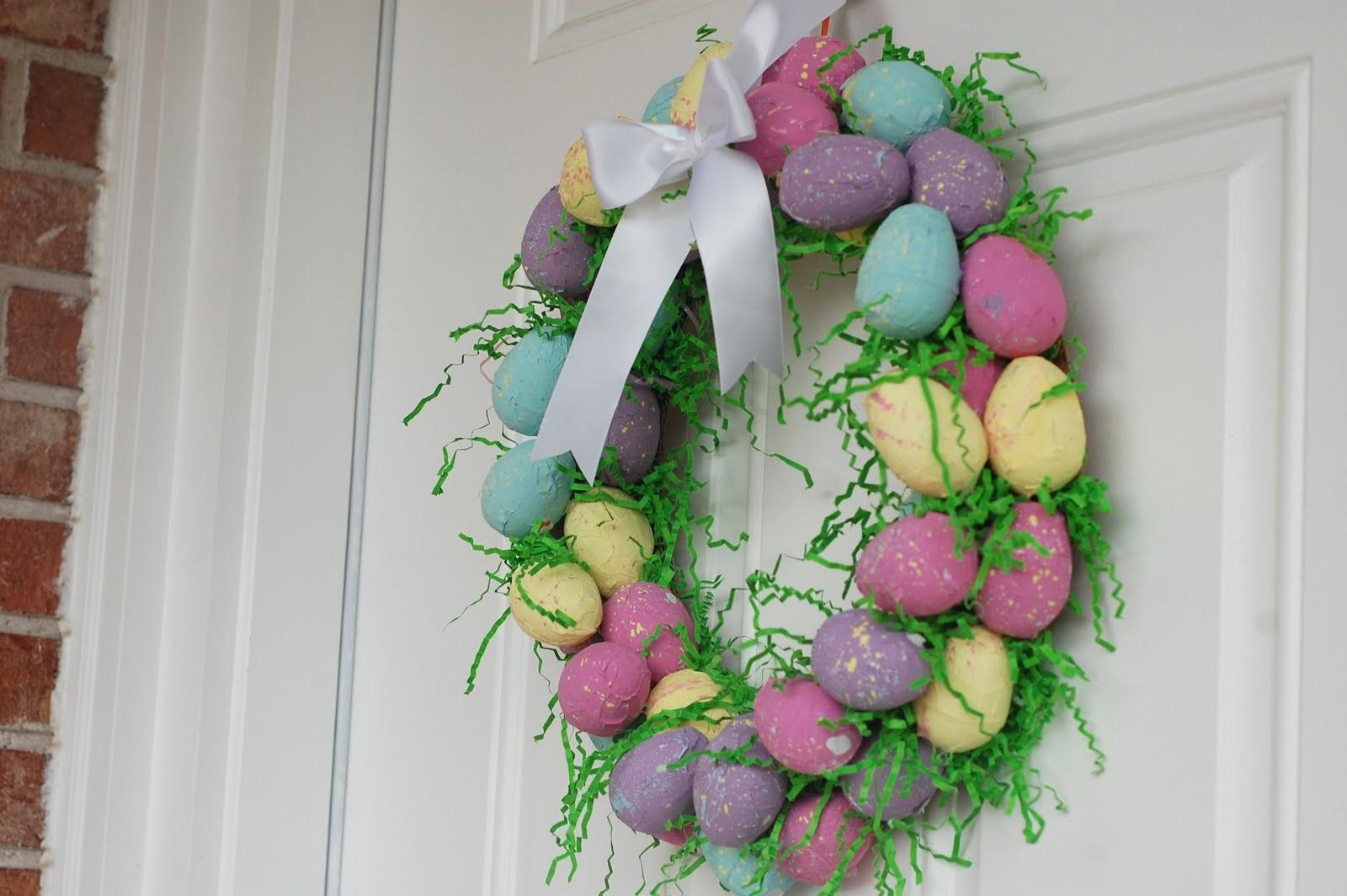 Polka Dot Umbrella Easter Egg Wreath