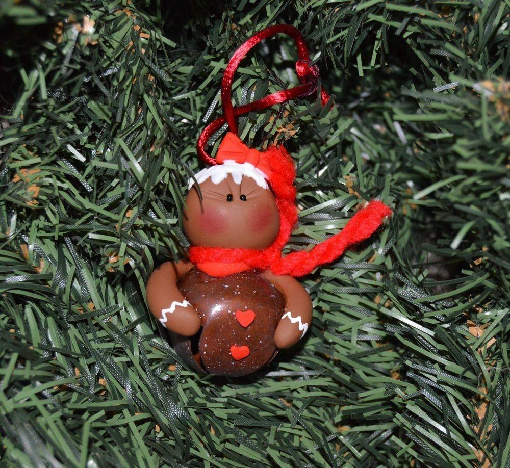 Polymer Clay Gingerbread Jingle Bell Belly Christmas