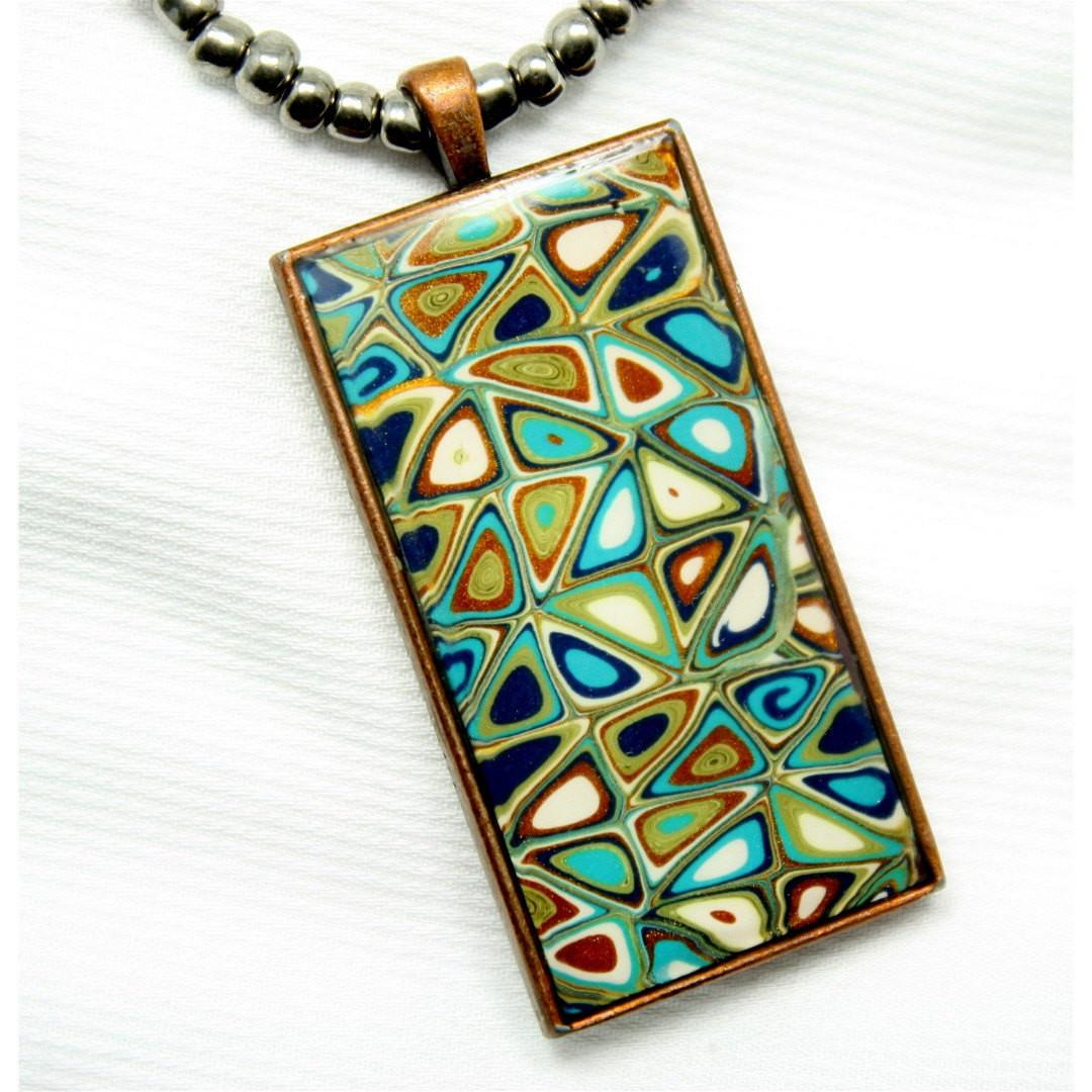 Polymer Clay Jewelry Mixed Media Necklace Ceramic Beads