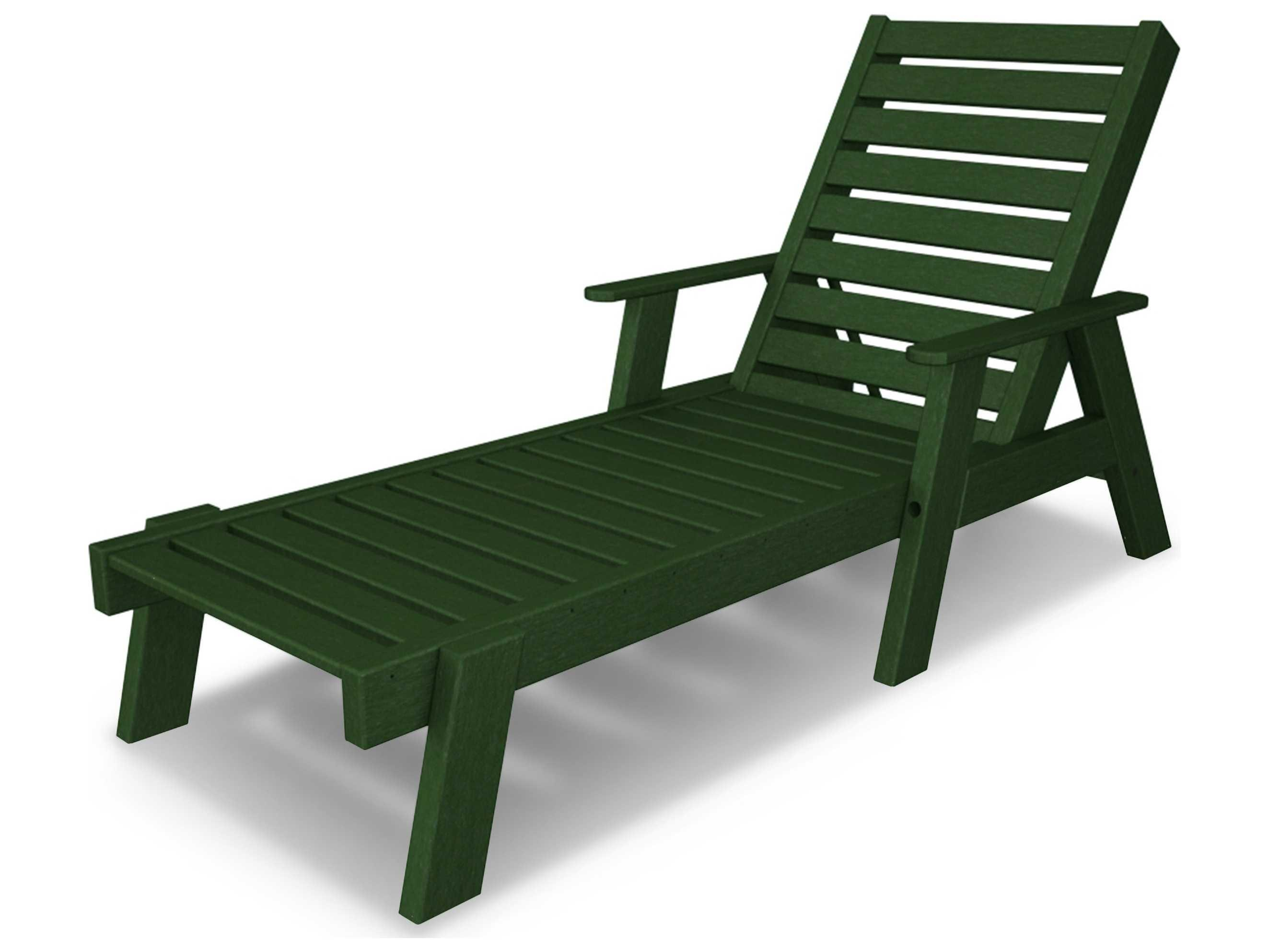 Polywood Captain Recycled Plastic Arm Chaise Lounge