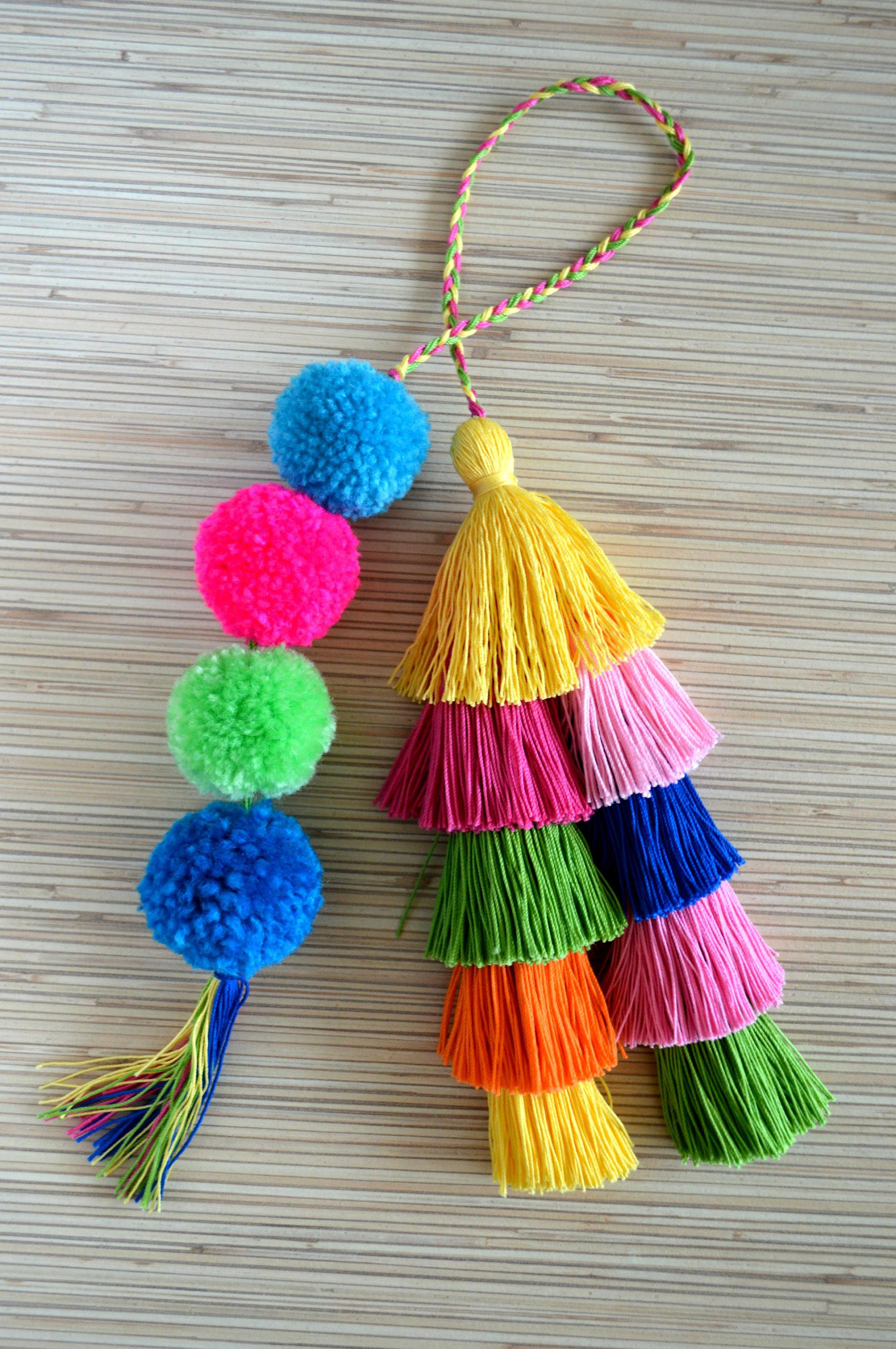 Pom Bag Charm Tassel Hot Pink