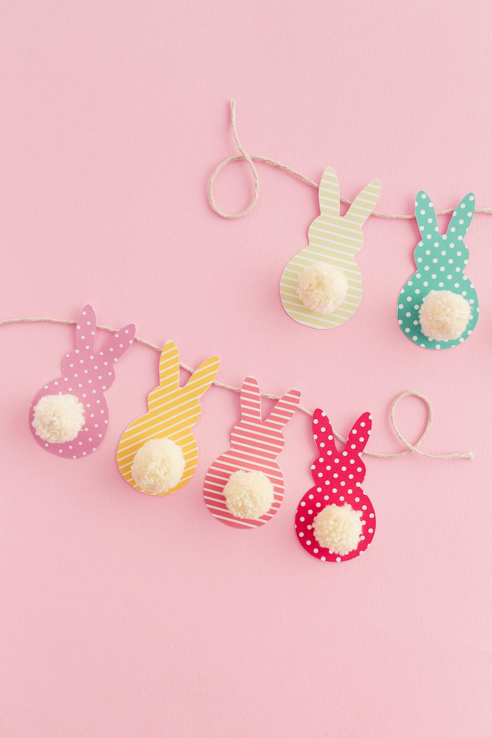 Pom Bunny Tail Easter Garland Diy Candy
