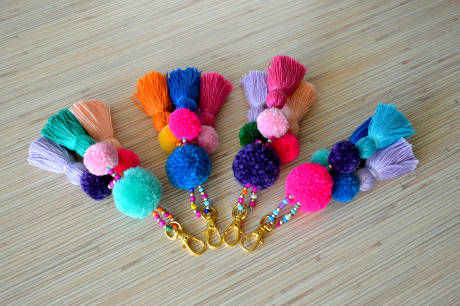 Pom Keychain Bag Charm Tassel Purse